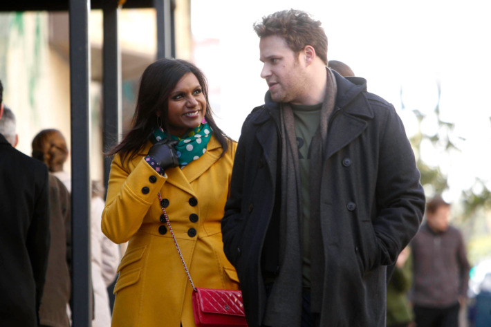 "THE MINDY PROJECT: Mindy (Mindy Kaling, L) reunites with her ""first kiss"" Sam (guest star Seth Rogen, R) in the ""The One That Got Away"" episode of THE MINDY PROJECT airing Tuesday, Feb. 26 (9:30-10:00 PM ET/PT)"