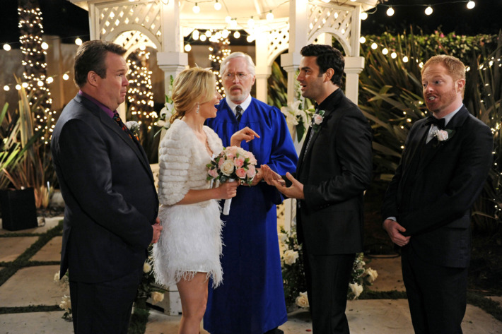 """MODERN FAMILY - """"Best Men"""" - Mitch and Cam's best gal pal, Sal, makes one of her notorious surprise drop-ins, but this time with big news - she's getting married... tomorrow! Cam and Mitch are the best men, but they can't help but question whether this party girl can really settle down, and they consider an intervention. Meanwhile, Gloria has trust issues with their new nanny, Claire has a rare bonding moment with Haley, and Phil helps Luke with a girl he likes, on """"Modern Family,"""" WEDNESDAY, FEBRUARY 27 (9:00-9:31 p.m., ET), on the ABC Television Network."""