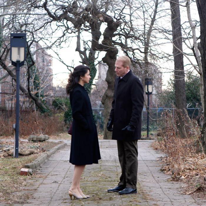 THE AMERICANS -- COMINT -- Episode 5 (Airs Wednesday, February 27, 10:00 pm e/p) -- Pictured: (L-R) Annet Mahendru as Nina, Noah Emmerich as FBI Agent Stan Beeman