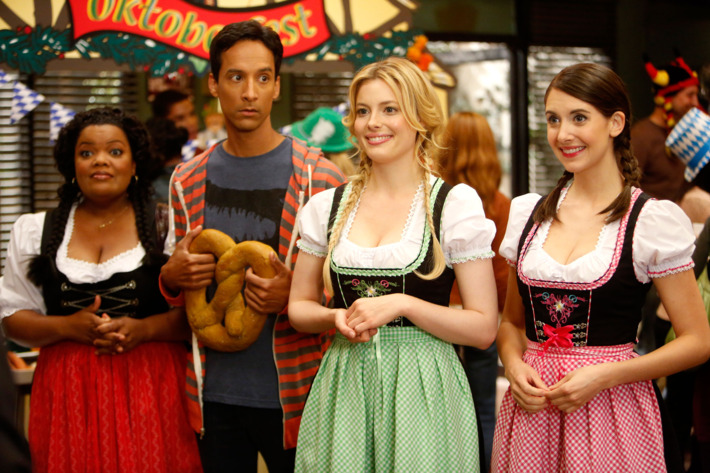 """COMMUNITY -- """"Alternative History of the German Invasion"""" Episode 402 -- Pictured: (l-r) Yvette Nicole Brown as Shirley, Danny Pudi as Abed, Gillian Jacobs as Britta, Alison Brie as Annie"""