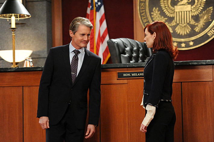 """""""Going for the Gold""""-- AUSA Josh Perrotti (Kyle MachLachlan, left) and Elsbeth Tascioni (Carrie Preston, right) face off in two separate courtrooms, on THE GOOD WIFE, Sunday March 3 (9:00-10:00 PM, ET/PT)"""