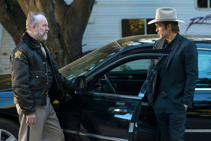 JUSTIFIED -- The Hatchet Tour -- Episode 9 (Airs Tuesday, March 5, 10:00 pm e/p) -- Pictured: (L-R) Jim Beaver as Shelby Parlow, Timothy Olyphant as Deputy U.S. Marshal Raylan Givens