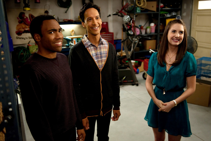 """COMMUNITY -- """"Cooperative Escapism In Familial Relations"""" Episode 405 -- Pictured: (l-r) Donald Glover as Troy, Danny Pudi as Abed, Alison Brie as Annie"""