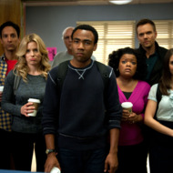 """COMMUNITY -- """"Alternative History of the German Invasion"""" Episode 402 -- Pictured: (l-r) Danny Pudi as Abed, Gillian Jacobs as Britta, Chevy Chase as Pierce,  Donald Glover as Troy, Yvette Nicole Brown as Shirley, Joel McHale as Jeff Winger, Alison Brie as Annie"""