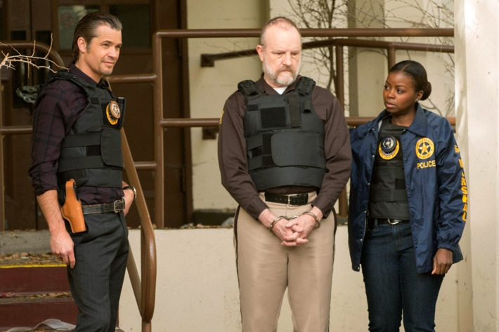 JUSTIFIED -- Decoy -- Episode 11 (Airs Tuesday, March 19, 10:00 paJUSTIFIED -- Decoy -- Episode 11 (Airs Tuesday, March 19, 10:00 pm e/p) -- Pictured: (L-R) Timothy Olyphant as U.S. Deputy Marshal Raylan Givens, Jim Beaver as Shelby Parlow, Erica Tazel as Deputy U.S. Marshal Rachel Brooksm e/p) -- Pictured: (L-R) Timothy Olyphant as U.S. Deputy Marshal Raylan Givens, Jim Beaver as Shelby Parlow, Erica Tazel as Deputy U.S. Marshal Rachel Brooks -- CR: Prashant Gupta/FX