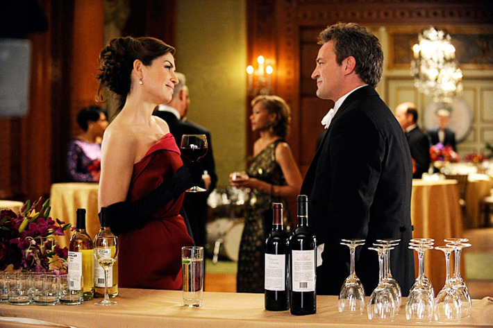 """""""Death of a Client""""--Alicia (Julianna Margulies) runs into Mike Kresteva (Matthew Perry), Peter's political rival, on THE GOOD WIFE, Sunday March 24 (9:00-10:00 PM, ET/PT) on the CBS Television Network."""