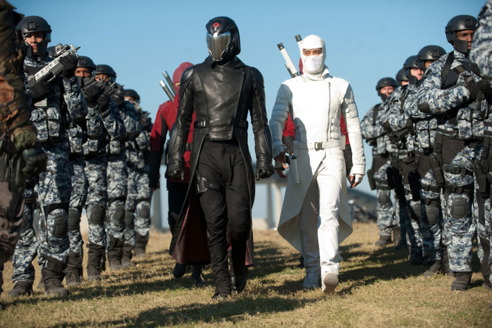 Center left to right: Luke Bracey plays Cobra Commander and Byung-Hun Lee plays Storm Shadow in G.I. JOE: RETALIATION, from Paramount Pictures, MGM, and Skydance Productions.         GR-17487