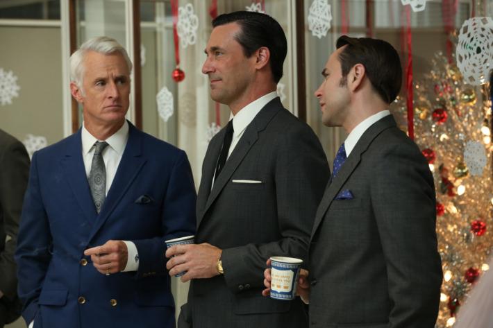 Roger Sterling (John Slattery), Don Draper (Jon Hamm) and Pete Campbell (Vincent Kartheiser) - Mad Men - Season 6, Episode 1 - Photo Credit: Michael Yarish/AMC