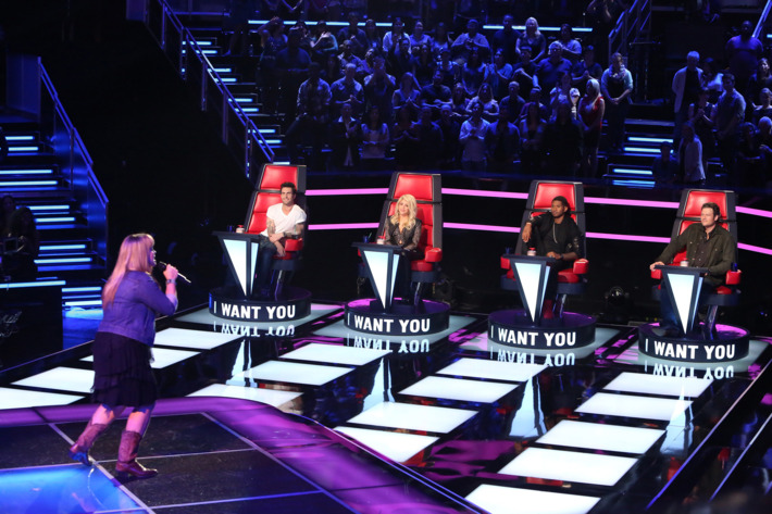 """THE VOICE -- """"Blind Auditions"""" Episode 403 -- Pictured: (l-r) Holly Tucker, Adam Levine, Shakira, Usher, Blake Shelton -- (Photo by: Adam Taylor/NBC)"""