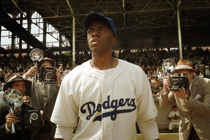 """CHADWICK BOSEMAN as Jackie Robinson in Warner Bros. Pictures' and Legendary Pictures' drama """"42,"""" a Warner Bros. Pictures release."""