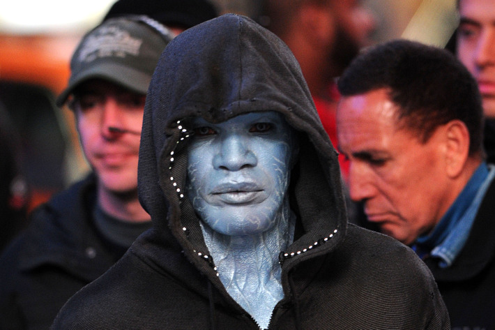 Jamie Foxx on location in Times Square for 'The Amazing Spider-Man 2'.