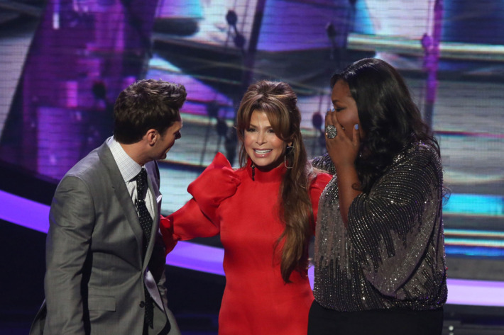 Paula Abdul (C) surprises Candice Glover (R) and Ryan Seacrest (L) on AMERICAN IDOL Thursday, April 18 (8:00-9:00 PM ET/PT) on FOX.