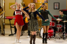 """GLEE: Brittany (Heather Morris, L), Quinn (Dianna Agron, C) and Santana (Naya Rivera, R) perform in the """"Thanksgiving"""" episode of GLEE airing Thursday, Nov. 29 (9:00-10:00 PM ET/PT) on FOX. ©2012 Fox Broadcasting Co. CR: Adam Rose/FOX"""