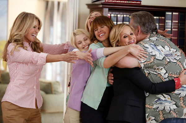 """PARKS AND RECREATION -- """"Jerry's Scrapbook"""" Episode 521 -- Pictured: (l-r) Christie Brinkley as Gayle, Sarah Wright as Millicent, Amy Poehler as Leslie Knope, Jim O'Heir as Jerry Gergich -- (Photo by: Tyler Golden/NBC)"""