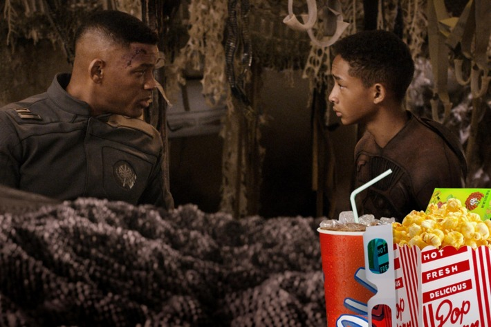"Will Smith, left, and Jaden Smith star in Columbia Pictures' ""After Earth."""