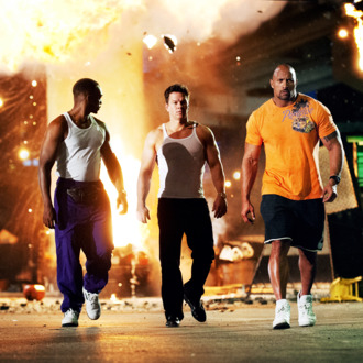(Left to right) Anthony Mackie as Adrian Doorbal, Mark Wahlberg as Daniel Lugo and Dwayne Johnson as Paul Doyle in PAIN AND GAIN, directed by Michael Bay from Paramount Pictures.