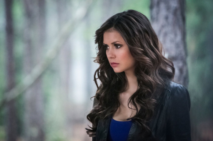 """The Vampire Diaries -- """"The Walking Dead"""" -- Pictured: Nina Dobrev as Katherine -- Image Number: VD422b_0246r.jpg -- Photo: Tina Rowden/The CW -- © 2013 The CW Network, LLC. All rights reserved."""