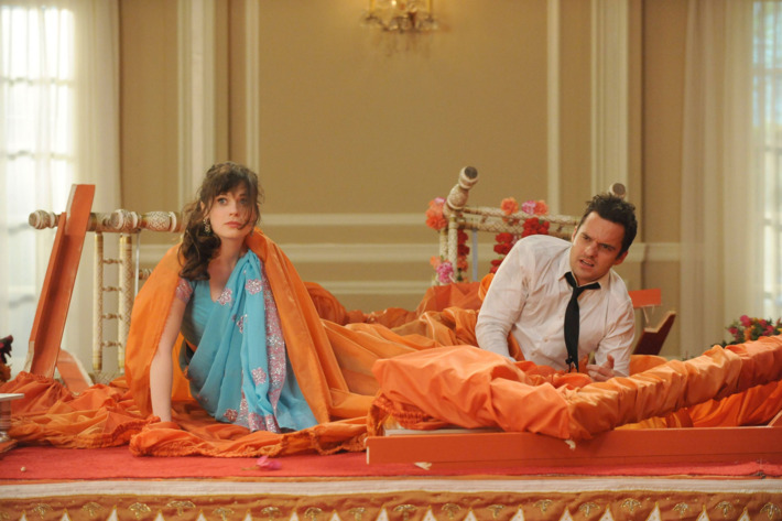 """NEW GIRL:  Jess (Zooey Deschanel, R) and Nick (Jake Johnson, L) surprise the guests at Cece's wedding in the """"Elaine's Big Day"""""""