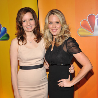 Actresses Lennon Parham and Jessica St. Clair attends the 2011 NBC Upfront at The Hilton Hotel on May 16, 2011 in New York City.