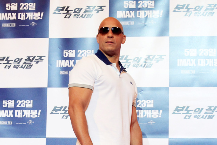 Actor Vin diesel attends the 'Fast & Furious 6' press conference on May 13, 2013 in Seoul, South Korea. Vin diesel is visiting South Korea to promote their recent film 'Fast & Furious 6' which will be released in South Korea on May 23.  (Photo by Chung Sung-Jun/Getty Images)