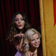 "SMASH -- ""The Tonys"" Episode 217 -- Pictured: (l-r) Katharine McPhee as Karen Cartwright, Megan Hilty as Ivy Lynn -- (Photo by: Will Hart/NBC)"