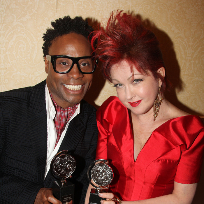 NEW YORK, NY - JUNE 09: Actor Billy Porter, winner of the award for Best Performance by a Leading Actor in a Musical for 'Kinky Boots' pose and composer Cyndi Lauper, winner of the award for Best Original Score (Music and/or Lyrics) Written for the Theatre 'Kinky Boots' pose in the press room during the 67th Annual Tony Awards at the on June 9, 2013 in New York City. (Photo by Bruce Glikas/FilmMagic)