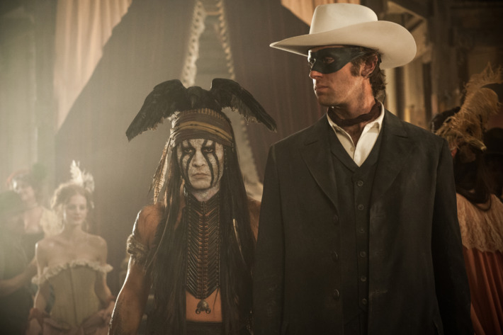 """""""THE LONE RANGER""""L to R: Johnny Depp as Tonto and Armie Hammer as The Lone RangerPh: Peter Mountain?Disney Enterprises, Inc. and Jerry Bruckheimer Inc.  All Rights Reserved."""