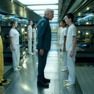 HARRISON FORD (center) and ASA BUTTERFIELD (right) star in ENDER'S GAMEPhoto: Richard Foreman Jr., SMPSP? 2012 Summit Entertainment, LLC. All Rights Reserved.?