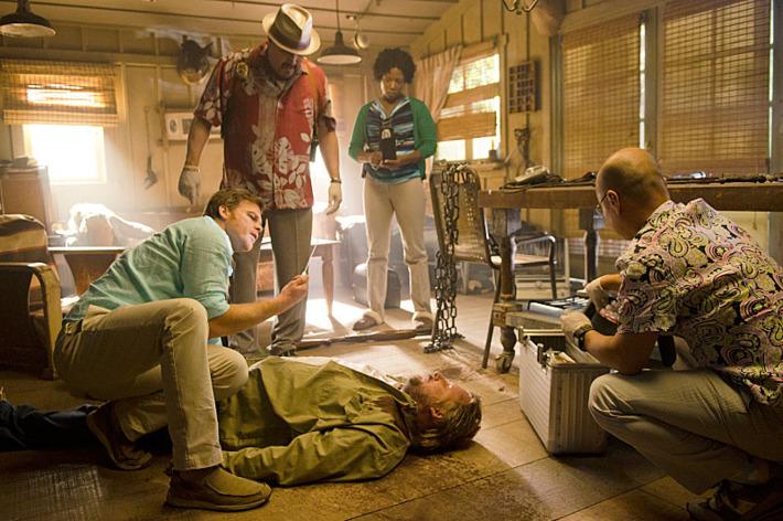 Michael C. Hall as Dexter Morgan, David Zayas as Angel Batista, Dana L. Wilson as Detective Angie Miller and C.S. Lee as Vince Masuka in Dexter (Season 8, episode 3) - Photo: Randy Tepper/Showtime - Photo ID: Dexter_803_0533