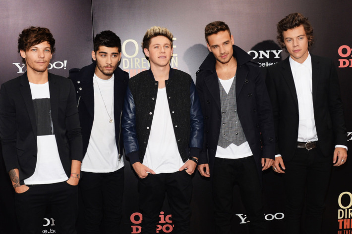 "Louis Tomlinson,  Zayn Malik, Niall Horan, Liam Payne and Harry Styles attend the world premiere of ""One Direction: This Is Us"" at the Ziegfeld Theater on August 26, 2013 in New York City."