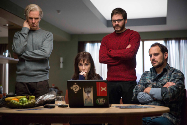 """Left to right: Benedict Cumberbatch (Julian Assange), Carice van Houten (Birgitta J?nsd?ttir), Daniel Br?hl (Daniel Domscheit-Berg) and Moritz Bleibtreu (Marcus) star in DreamWorks Pictures' """"The Fifth Estate."""" A dramatic thriller based on true events, """"The Fifth Estate"""" reveals the quest to expose the deceptions and corruptions of power that turned an Internet upstart into the 21st century's most fiercely debated organization."""