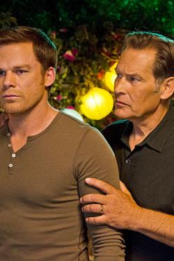 James Remar as Harry Morgan and Michael C. Hall as Dexter Morgan in Dexter (Season 8, episode 10).