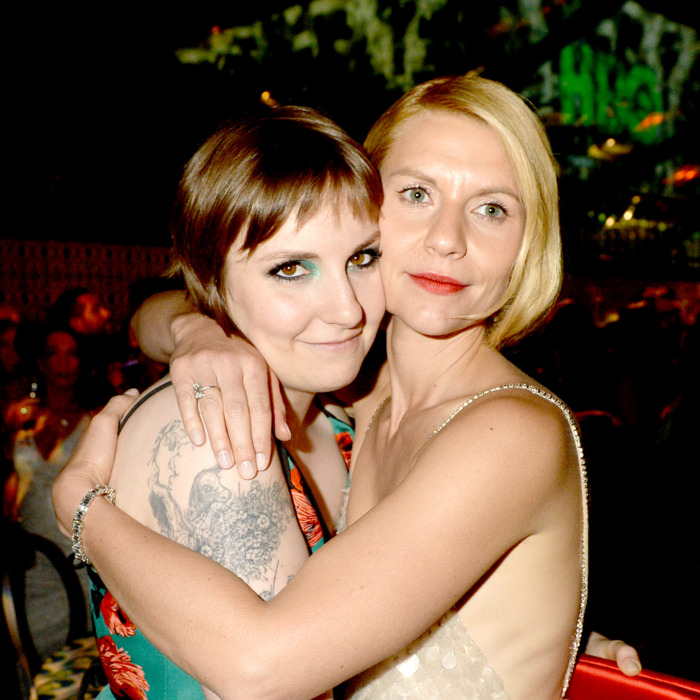 LOS ANGELES, CA - SEPTEMBER 22: Filmmaker Lena Dunham (L) and actress Claire Danes attend HBO's official Emmy after party in The Plaza at the Pacific Design Center on September 22, 2013 in Los Angeles, California. (Photo by Jeff Kravitz/FilmMagic)