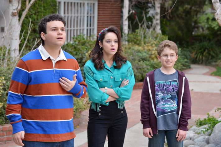 """THE GOLDBERGS - """"The Goldbergs"""" stars Wendi McLendon-Covey (""""Bridesmaids"""") as Beverly Goldberg, Patton Oswalt (""""Ratatouille"""") as adult Adam Goldberg, Sean Giambrone as Adam Goldberg, Troy Gentile (""""Good Luck Chuck"""") as Barry Goldberg, Hayley Orrantia (""""The X Factor"""") as Erica Goldberg, with George Segal (""""Don't Shoot Me"""") as Pops Solomon and Jeff Garlin (""""Curb Your Enthusiasm"""") as Murray Goldberg. """"The Goldbergs"""" was written and executive-produced by Adam F. Goldberg (""""Breaking In,"""" """"Fanboys"""") and also executive-produced by Doug Robinson and Seth Gordon. The pilot was directed by Seth Gordon (""""Identity Thief,"""" """"Horrible Bosses""""). """"The Goldbergs"""" is from Adam Sandler's production company, Happy Madison, and is produced by Sony Pictures Television.  (ABC/Eric McCandless)TROY GENTILE, HAYLEY ORRANTIA, SEAN GIAMBRONE"""