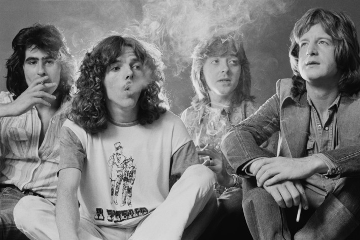 British rock group Badfinger, September 1973. Left to right: bassist Tom Evans, drummer Mike Gibbins, guitarist Joey Molland and singer/guitarist Pete Ham (1947 - 1975). (Photo by Michael Putland/Getty Images)