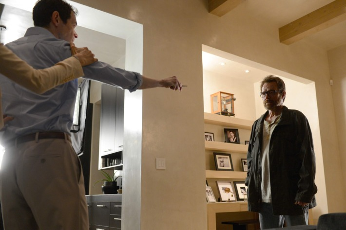 Elliott (Adam Godley) and Walter White (Bryan Cranston) - Breaking Bad _ Season 5, Episode 16 - Photo Credit: Ursula Coyote/AMC