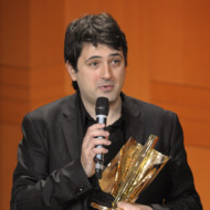 """Music composer Bruno Mantovani speaks after winning the """"Best Composer of the year"""" award during the 16th Victoires de la Musique Classique (France's best classical artists of the year) on February 8, 2009 in Metz, eastern France."""