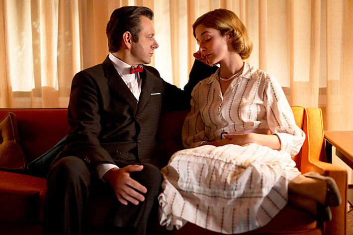 Michael Sheen as Dr. William Masters and Caitlin Fitzgerald as Libby Masters in Masters of Sex (season 1, episode 3).