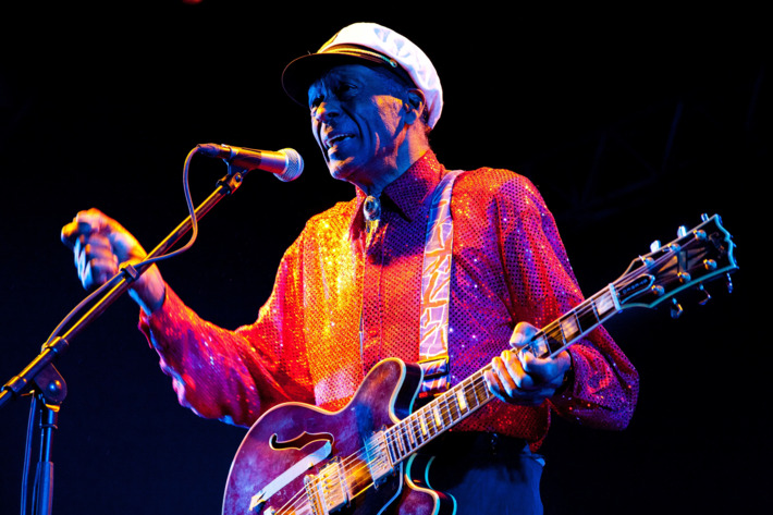 Singer Chuck Berry performs at the Arena Moscow Club on February 24, 2013 in Moscow, Russia.