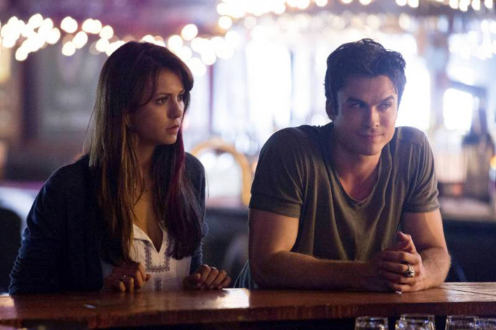 """The Vampire Diaries -- ?€?Original Sin?€ -- Image Number: VD503a_0118.jpg ?€"""" Pictured (L-R): Nina Dobrev as Elena and Ian Somerhalder as Damon -- Photo: Bob Mahoney/The CW -- © 2013 The CW Network, LLC. All rights reserved"""
