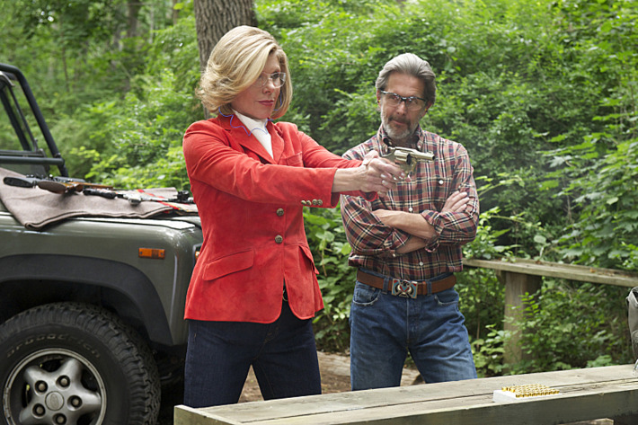 """Outside the Bubble""--Diane (Christine Baranski, left) takes refuge in her relationship with Kurt (Gary Cole, right) while she is being pushed out of the firm after making disparaging comments about Will to a reporter, on THE GOOD WIFE at a special time, Sunday, October 20 (9:30-10:30 PM, ET/PT) on the CBS Television Network. Photo: David M. Russell/CBS ?'??2013 CBS Broadcasting Inc. All Rights Reserved"