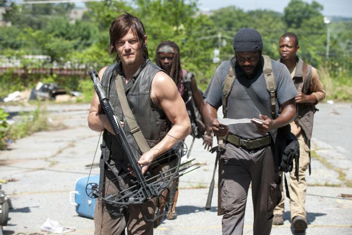 Daryl Dixon (Norman Reedus), Michonne (Danai Gurira), Tyreese (Chad Coleman) and Bob (Lawrence Gilliard Jr.) - The Walking Dead