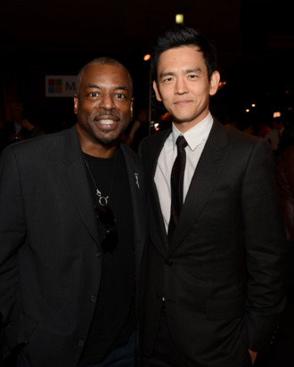 HOLLYWOOD, CA - MAY 14: Actors LeVar Burton (L) and John Cho at the Premiere of Paramount Pictures'
