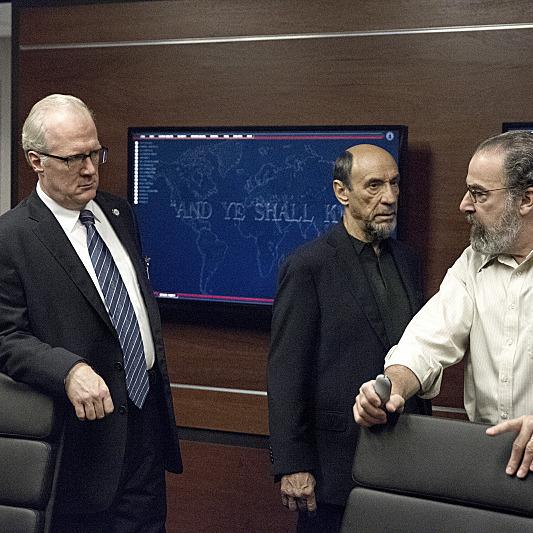 Tracy Letts as Senator Lockhart, F. Murray Abraham as Dar Adal and Mandy Patinkin as Saul Berenson in Homeland