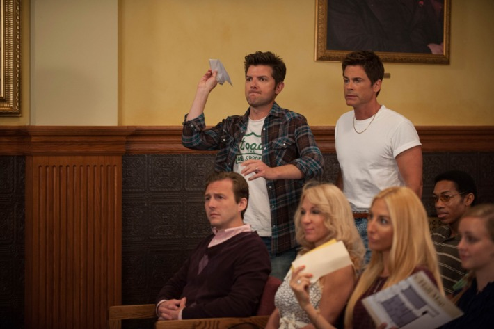 """PARKS AND RECREATION -- """"Filibuster"""" Episode 605 -- Pictured: (l-r) Adam Scott as Ben Wyatt, Rob Lowe as Chris Traeger."""