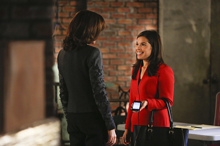 """""""The Next Month""""--Marilyn is concerned about the ethical implications when Eli reconnects with Natalie Flores (guest star America Ferrera, right, with Julianna Margulies, left), on THE GOOD WIFE, Sunday, Nov 17 (9:00-10:00 PM, ET/PT) on the CBS Television Network. Photo: Craig Blankenhornl/CBS ?'??2013 CBS Broadcasting Inc. All Rights Reserved"""