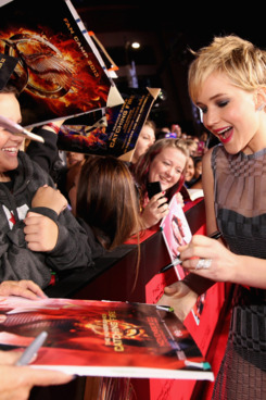 """Actress Jennifer Lawrence attends premiere of Lionsgate's """"The Hunger Games: Catching Fire"""" - Red Carpet at Nokia Theatre L.A. Live on November 18, 2013 in Los Angeles, California."""