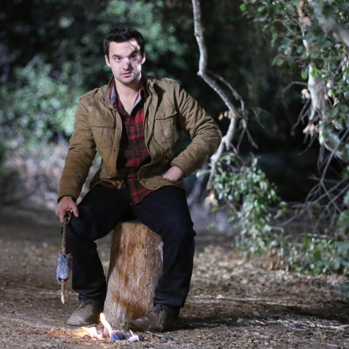 NEW GIRL: Nick (Jake Johnson) tries out his survival skills when the gang goes on a camping trip for Thanksgiving in the