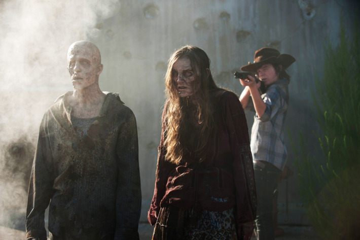 Walker and Carl Grimes (Chandler Riggs) - The Walking Dead _ Season 4, Episode 8 - Photo Credit: Gene Page/AMC