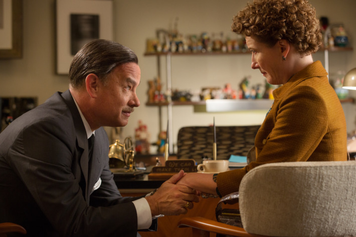 """SAVING MR. BANKS""Walt Disney (Tom Hanks), left, and P.L. Travers (Emma Thompson), right, in Disney's ""Saving Mr. Banks,""?releasing in U.S. theaters limited on December 13, 2013 and wide on December 20, 2013.Ph: Fran?ois Duhamel?Disney Enterprises, Inc.  All Rights Reserved."
